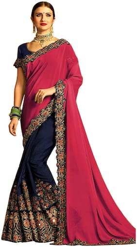 Celeb Styles Women's Pink Colored Georgette Half Half Embroidered Saree