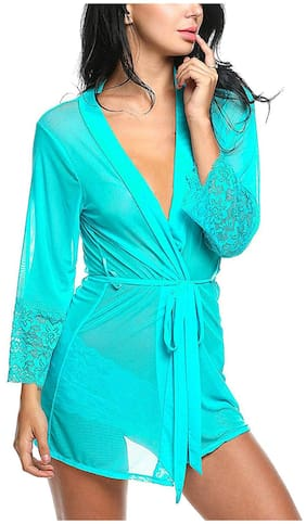 Celosia Turquoise Net Solid Babydoll For Women