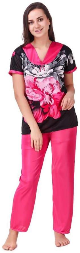 CELOSIA Women Satin Floral Top and Pyjama Set - Pink