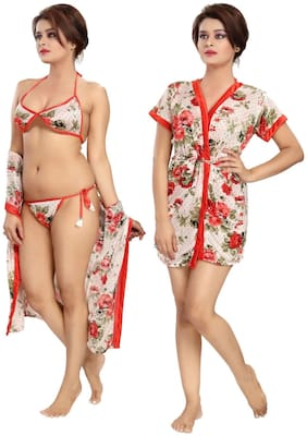 Women Floral Nightdress ,Pack Of 4