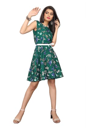 Chahat Fab Green Floral Fit & flare dress