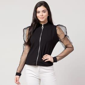 Vogue Tantra Women Solid & Self design Regular top - Black