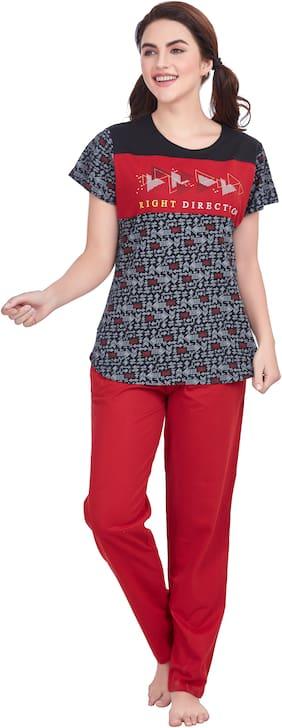 Charak Women Hosiery Printed Top and Pyjama Set - Black