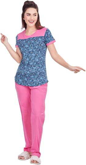 Charak Women Hosiery Printed Top and Pyjama Set - Blue