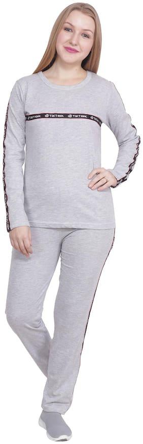 CHAUHAN Women Cotton Track Suit - Grey