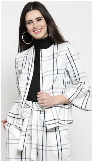Sera Women Checked Regular FIt Blazer - White