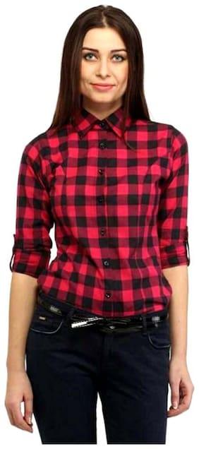 RAFFLESIA TOLPIS Women Black & Red Checked Regular Fit Shirt