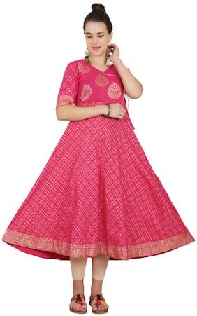Cheera Women Pink Printed Anarkali Kurta