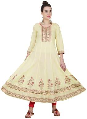 Cheera Women Yellow Printed Anarkali Kurta