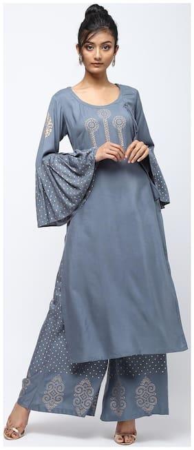 Cheera Women Grey Printed Straight Kurta