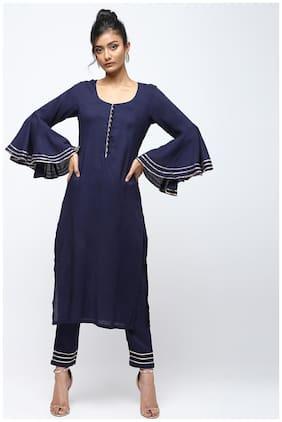 Cheera Women Navy Blue Solid Straight Kurta