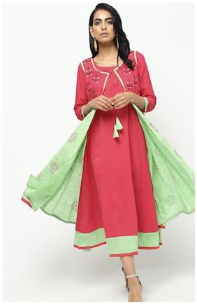 Cheera Women Cotton Kurti Dress Pink and Green color
