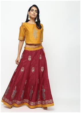 Cheera Yellow Maroon Lehenga Skirt With Beautiful Block Printed Contrast Top