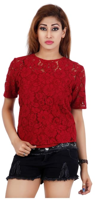 9672691b065 Buy Chemistry Women Cotton Printed - Regular Top Red Online at Low ...