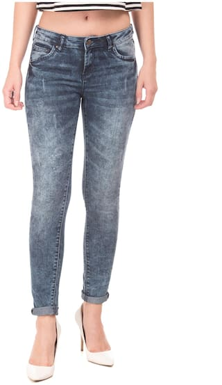 CHEROKEE Women Skinny Fit Mid Rise Washed Jeans - Blue