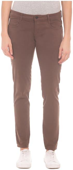 CHEROKEE Women Slim fit Mid rise Solid Regular trousers - Brown