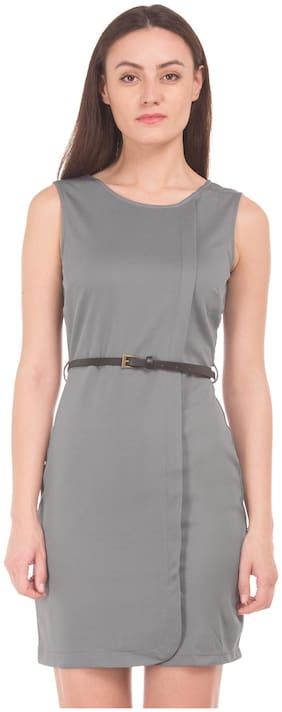 CHEROKEE Polyester Solid Sheath Dress Grey