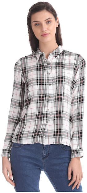CHEROKEE Women Regular Fit Checked Shirt - White