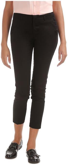 CHEROKEE Women Regular fit Mid rise Solid Regular trousers - Black