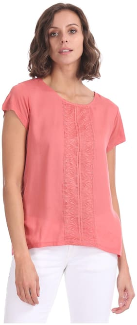 Women Lace Round Neck Top