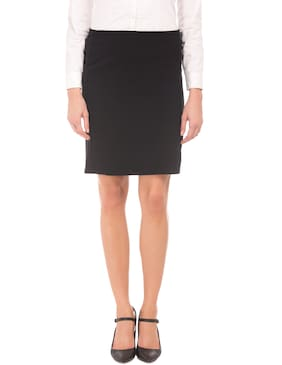 CHEROKEE Solid Pencil Skirt Midi Skirt - Black