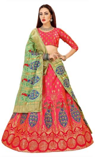 5b28aa11b5 Chhabra 555 Pink and Green Peacock Design Zari Work Embroidered Banarasi Silk  Lehenga Choli and Dupatta