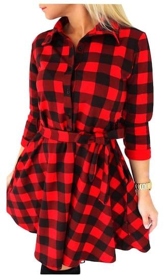 Chic A Collar for 4 3 Line Shirt Women Print Shirt Dress Design Sleeve Bowknot Plaid H0rqHw