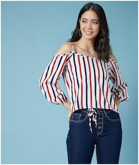 Chimpaaanzee Women Multi Polyester Striped Top