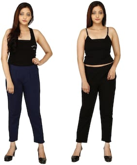 Chinmaya Cotton Solid Navy Blue & Black Trousers & Pant For Women