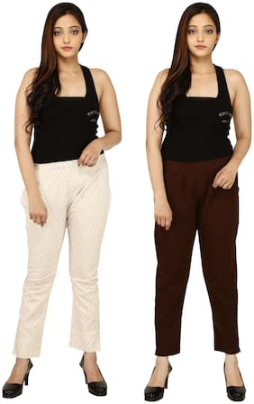 Chinmaya Cotton Solid Maroon & Cream Trousers & Pant For Women