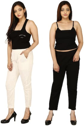 Chinmaya Cotton Solid Cream & Black Trousers & Pant For Women