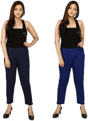 Chinmaya Cotton Solid Blue Trousers & Pant For Women