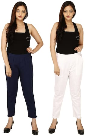 Chinmaya Cotton Solid Navy Blue & White Trousers & Pant For Women