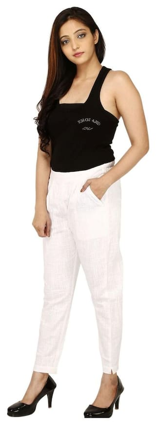 Women White Regular Pants Fit amp; CHINMAYA Trousers TOSxA