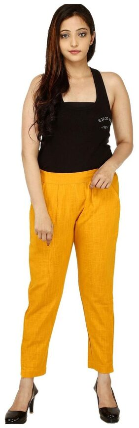 CHINMAYA Regular Fit Women Trousers & pants (Mustard)