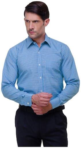 CHOKORE Executive Collection Cotton Light Blue With Cobalt Blue Formal Shirt