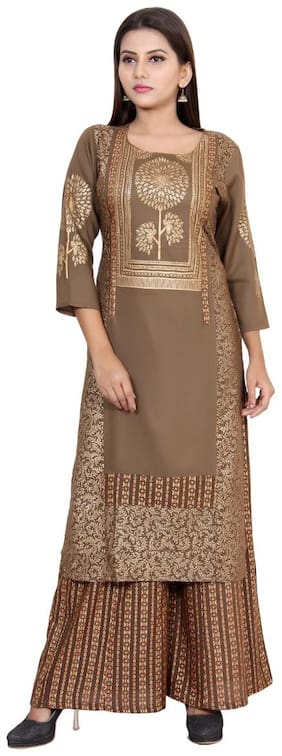 CHRISTEENA Women Brown Printed Straight Kurta With Palazzo