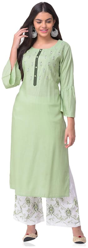 CHRISTEENA Women Rayon Straight Kurta With Palazzo Green and White color