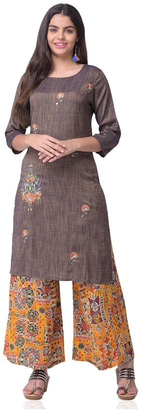 CHRISTEENA Women Rayon Straight Kurta With Palazzo Brown and Yellow color