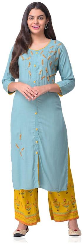 CHRISTEENA Women Rayon Straight Kurta With Palazzo Turquoise and Blue  color