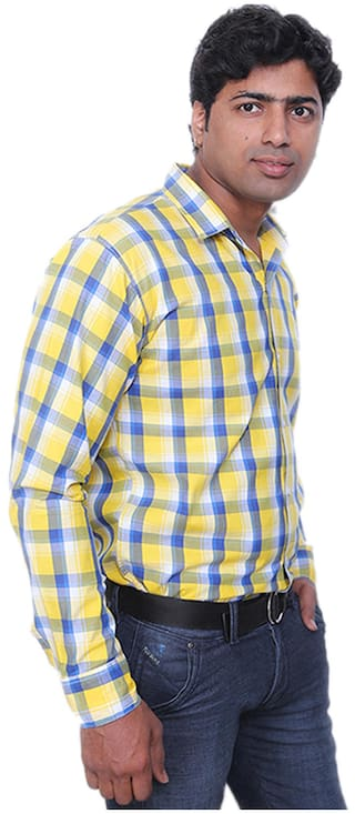 Slim Collection Christy Shirt Yellow Cotton S Casual Fit KKfXya