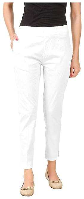 Cifer Women's Slim Fit Casual Trouser;Sizes S;M;L;XL;XXL-Super Soft Cotton Lycra 100% Try on Gaurantee -Made in India(White)