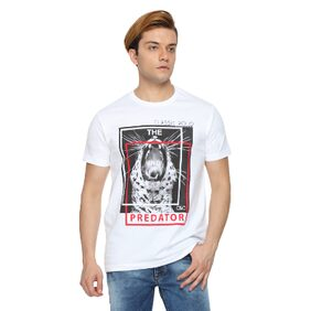 Classic Polo Printed Men's Round Neck White T-Shirt