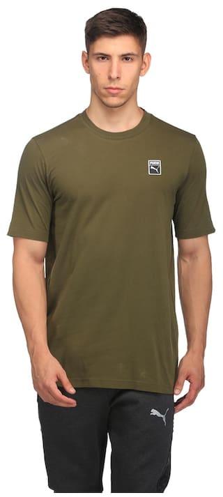 87b5e90ebc2 Buy Puma Men Round Neck Sports T-Shirt - Green Online at Low Prices ...