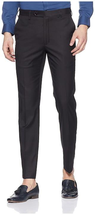 CLASSIO Men Solid Slim Fit Formal Trouser - Black