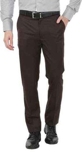 CLASSIO Brown Slim Fit Formal Trousers For Men