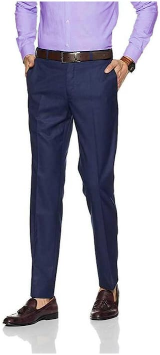CLASSIO FASHION Men Solid Slim Fit Formal Trouser - Blue
