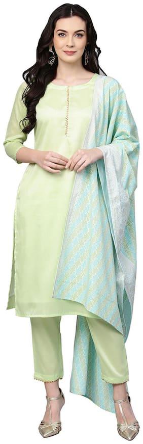 Ahalyaa Women Green Solid Straight Kurta With Pants And Dupatta
