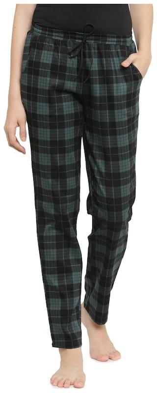 Claura Women Cotton Checked Pyjama - Green