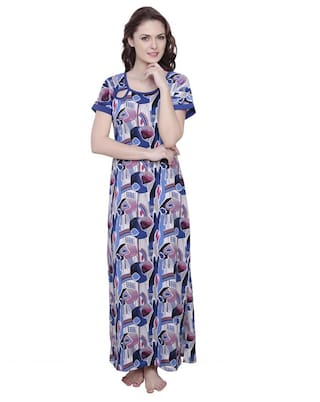 40d04de5c84 Buy CLAURA COTTON ABSTRACT PRINT FULL LENGTH NIGHTDRESS Online at ...